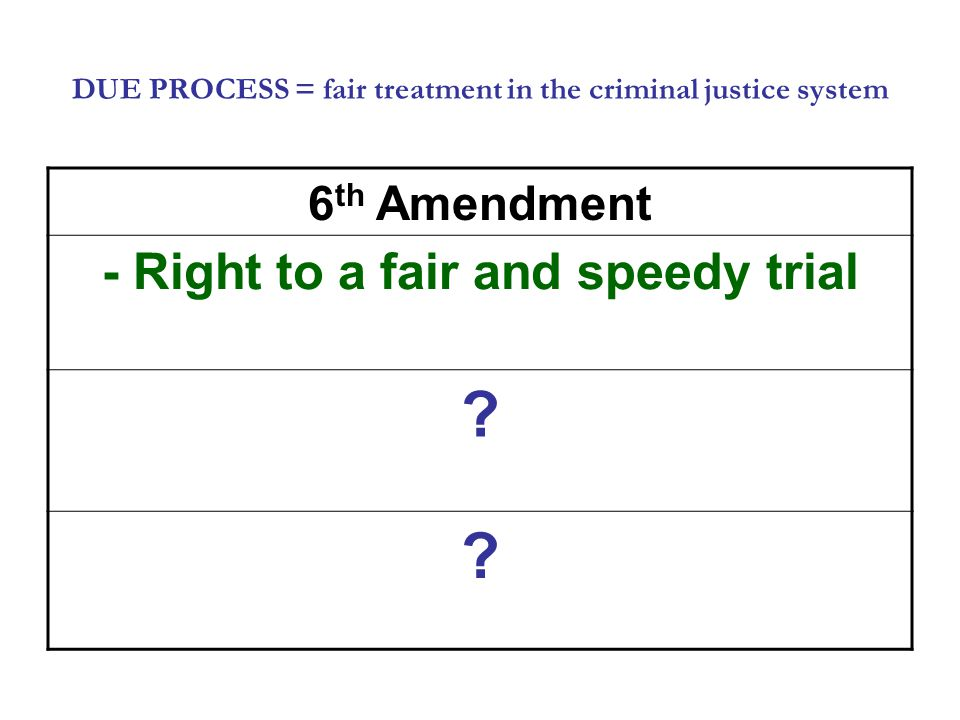 DUE PROCESS = fair treatment in the criminal justice system 6 th Amendment - Right to a fair and speedy trial .