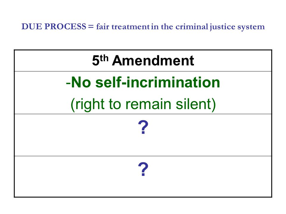 DUE PROCESS = fair treatment in the criminal justice system 5 th Amendment -No self-incrimination (right to remain silent) .