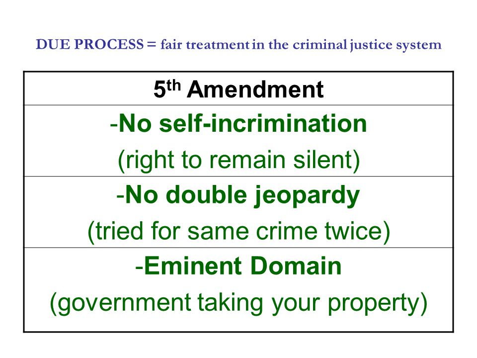 DUE PROCESS = fair treatment in the criminal justice system 5 th Amendment -No self-incrimination (right to remain silent) -No double jeopardy (tried for same crime twice) -Eminent Domain (government taking your property)
