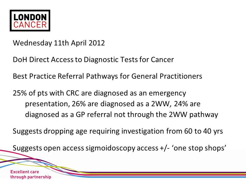 Wednesday 11th April 2012 DoH Direct Access to Diagnostic Tests for Cancer Best Practice Referral Pathways for General Practitioners 25% of pts with C