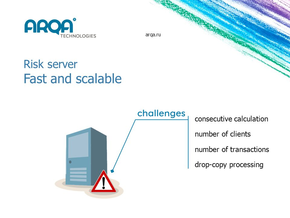 Risk server Fast and scalable consecutive calculation number of clients number of transactions drop-copy processing arqa.ru