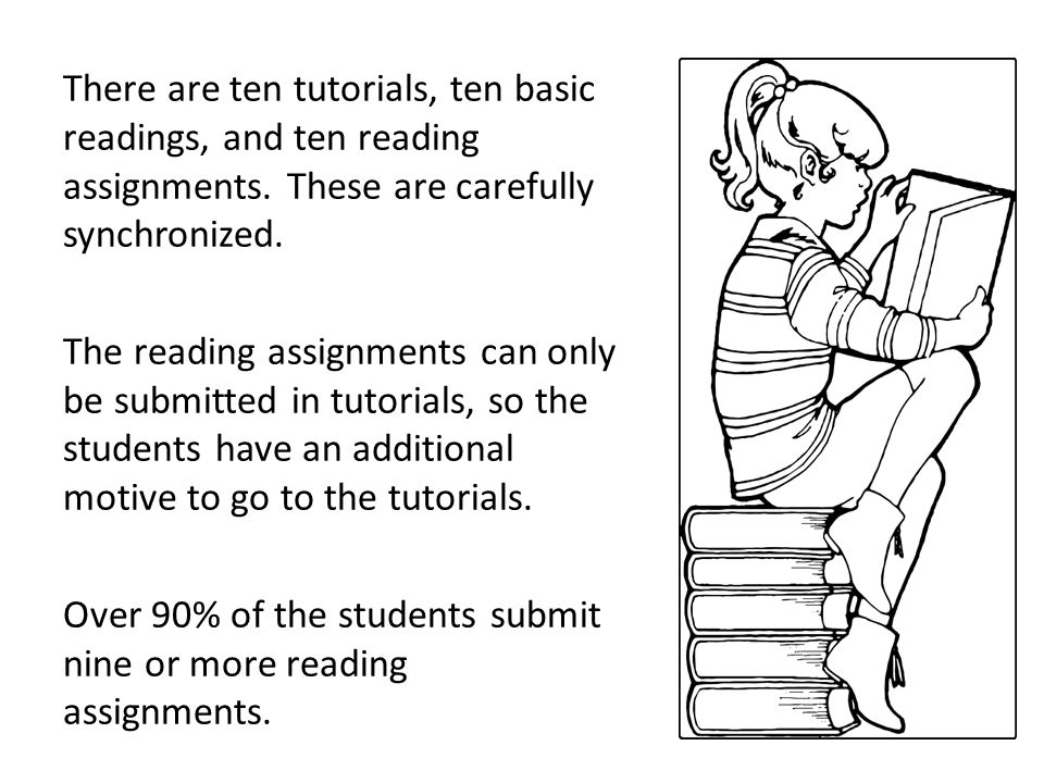 There are ten tutorials, ten basic readings, and ten reading assignments. These are carefully synchronized. The reading assignments can only be submit