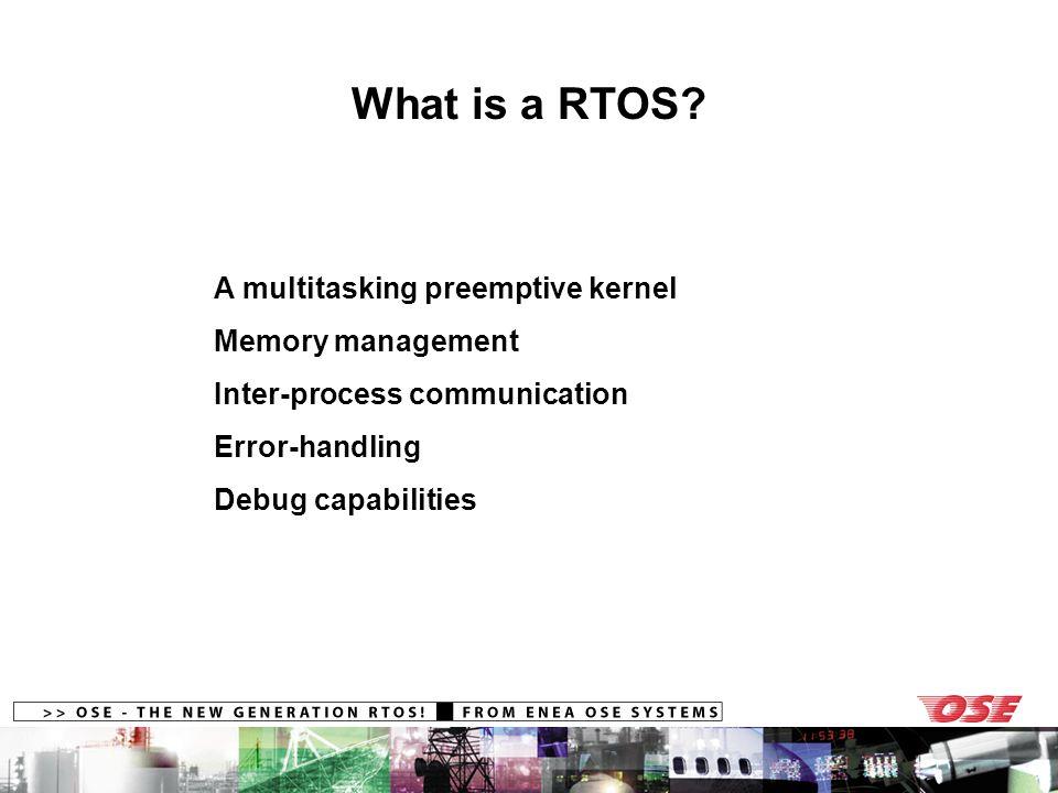 What is a RTOS? A multitasking preemptive kernel Memory management Inter-process communication Error-handling Debug capabilities
