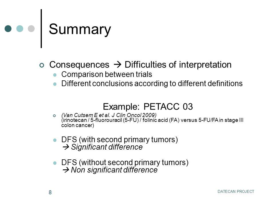 DATECAN PROJECT 8 Consequences  Difficulties of interpretation Comparison between trials Different conclusions according to different definitions Example: PETACC 03 (Van Cutsem E et al.