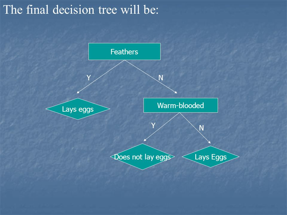 The final decision tree will be: Feathers YN Lays eggs Warm-blooded Y N Lays Eggs Does not lay eggs