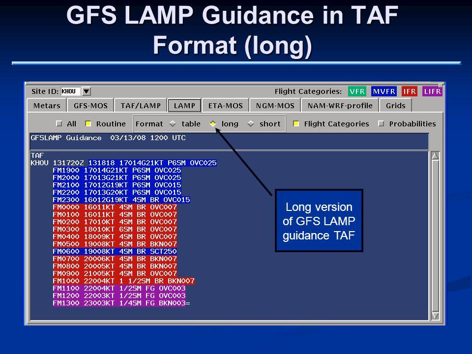 GFS LAMP Guidance in TAF Format (long) Long version of GFS LAMP guidance TAF