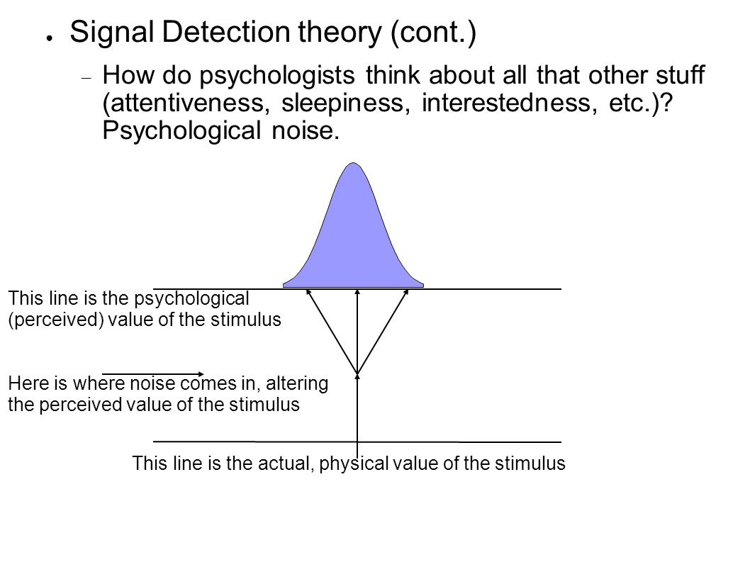 ● Signal Detection theory (cont.)  How do psychologists think about all that other stuff (attentiveness, sleepiness, interestedness, etc.).