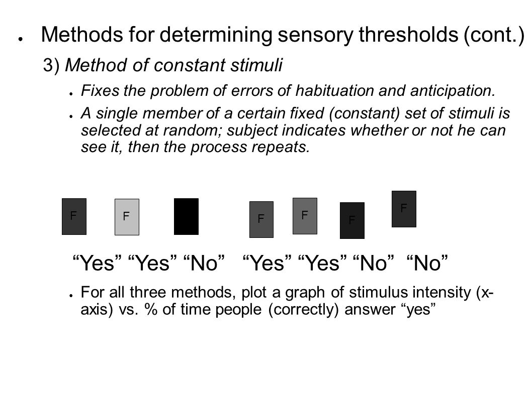 ● Methods for determining sensory thresholds (cont.) 3) Method of constant stimuli ● Fixes the problem of errors of habituation and anticipation.