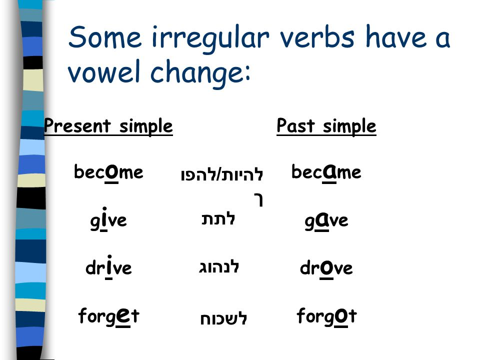 Irregular verbs are verbs that… do not … do not end with - ed
