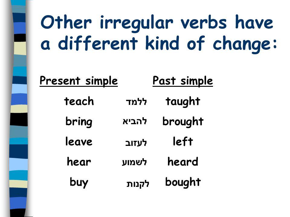 Some irregular verbs have a vowel change: Present simple bec o me g i ve dr i ve forg e t Past simple bec a me g a ve dr o ve forg o t להיות / להפו ך