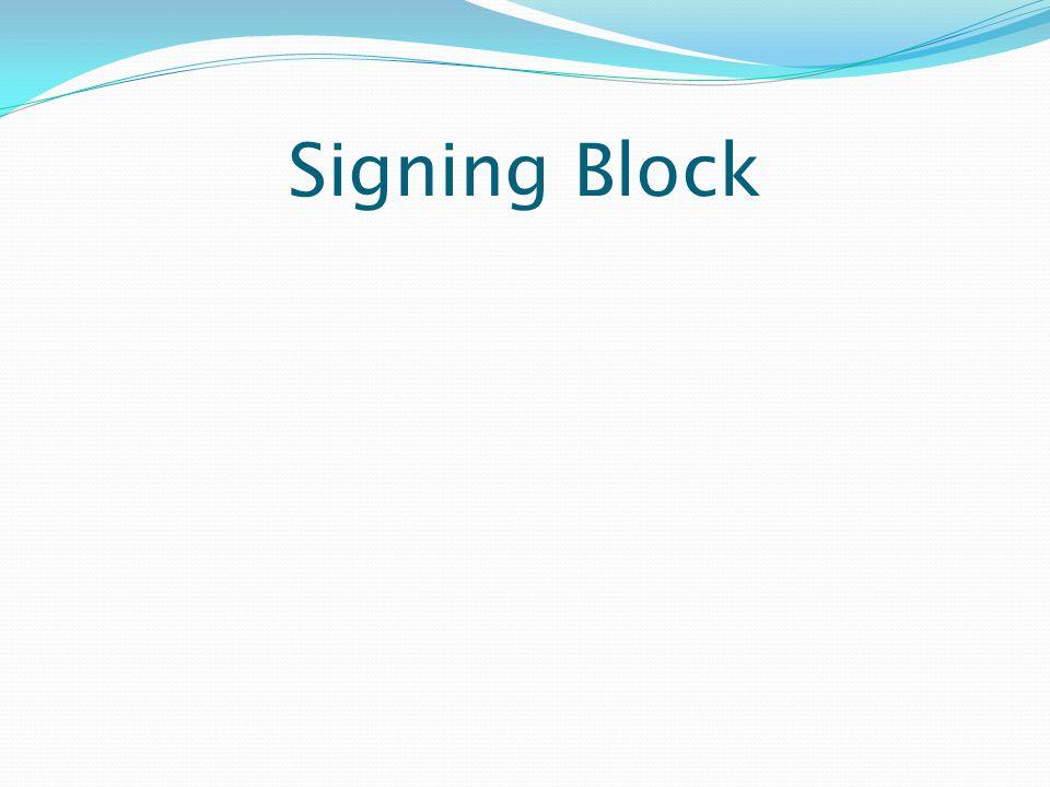 Signing Block