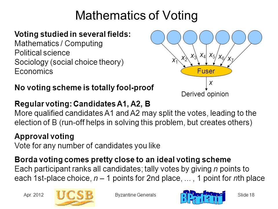 Apr. 2012Byzantine GeneralsSlide 18 Mathematics of Voting Voting studied in several fields: Mathematics / Computing Political science Sociology (socia