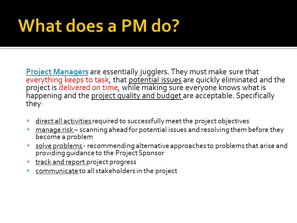 Project Managers are essentially jugglers.