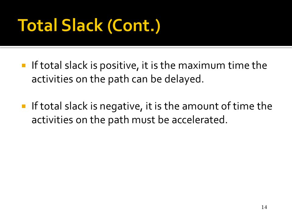 14  If total slack is positive, it is the maximum time the activities on the path can be delayed.