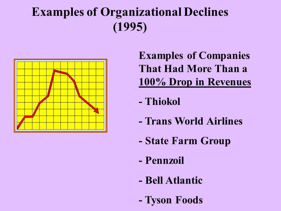Examples of Organizational Declines (1995) Examples of Companies That Had More Than a 100% Drop in Revenues - Thiokol - Trans World Airlines - State Farm Group - Pennzoil - Bell Atlantic - Tyson Foods