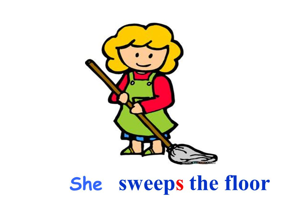 She sweeps the floor
