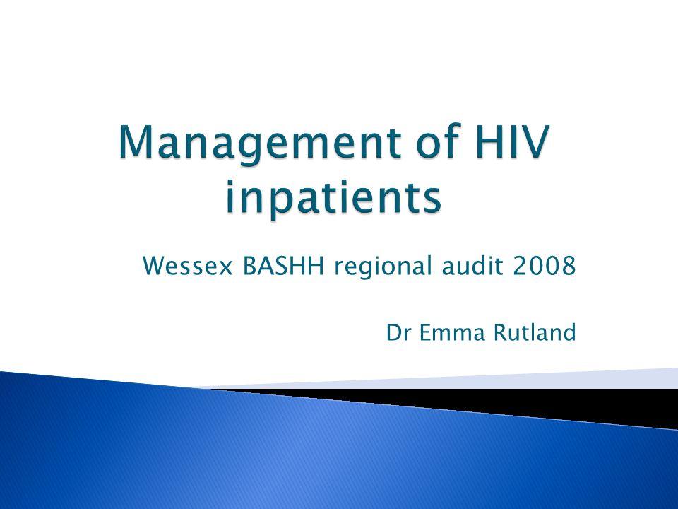 Wessex BASHH regional audit 2008 Dr Emma Rutland