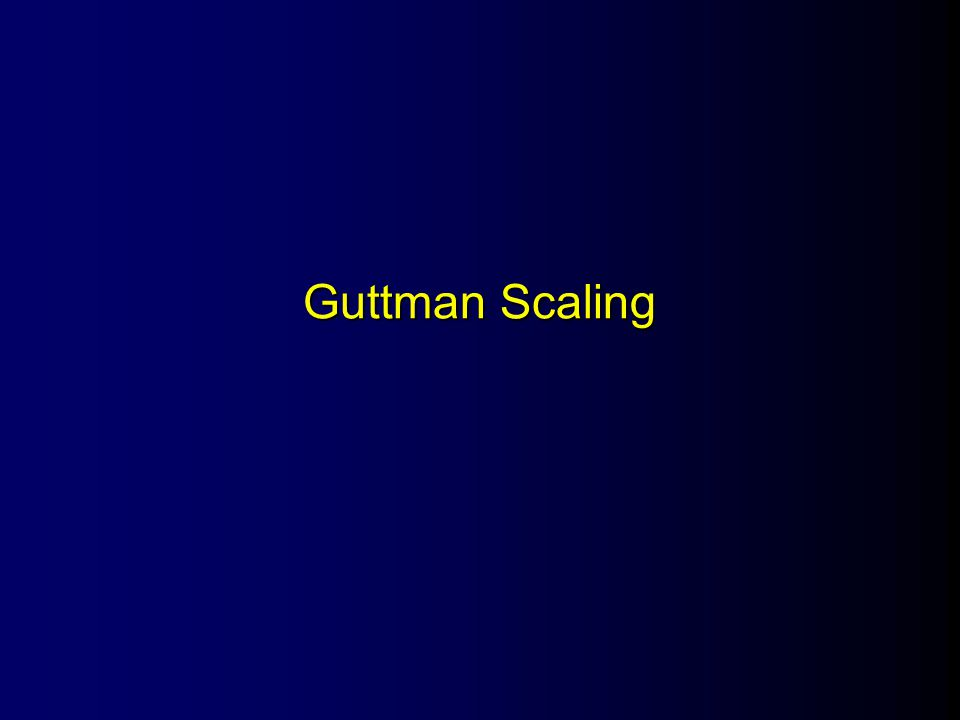 l Also known as –Scalogram analysis –Cumulative scaling l Purpose: –Establish a one-dimensional continuum –Perfectly predict item responses from total score –Seldom perfect in practice