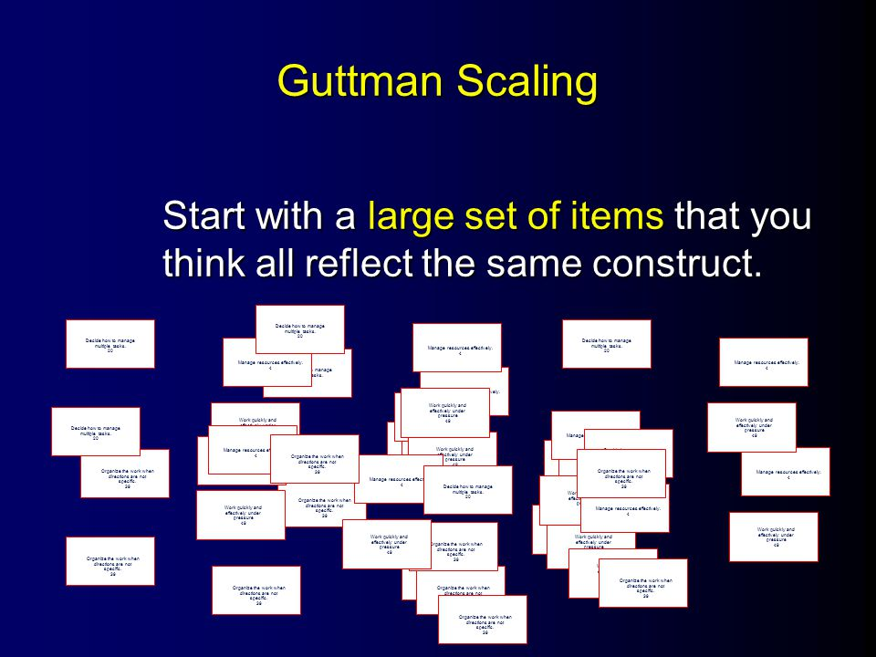 Guttman Scaling Have many judges rate each statement with respect to whether it is favorable with respect to the construct -- a yes/no rating.