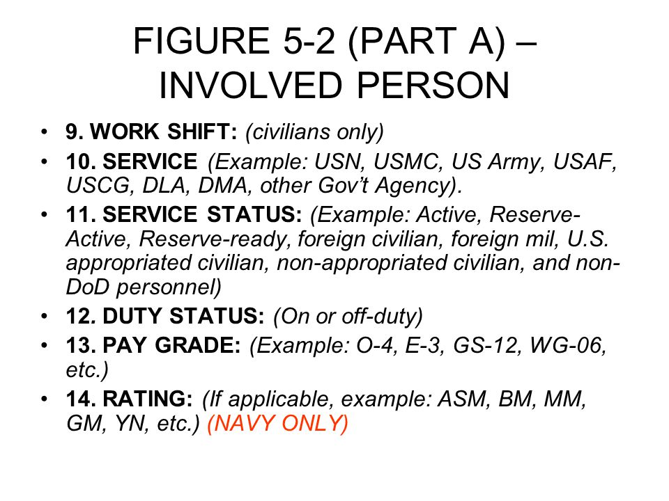 FIGURE 5-2 (PART A) – INVOLVED PERSON 9. WORK SHIFT: (civilians only) 10.
