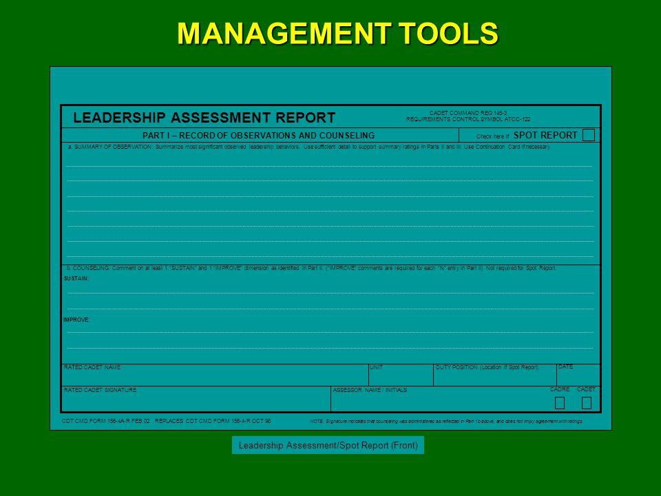 Leadership Assessment/Spot Report (Reverse)