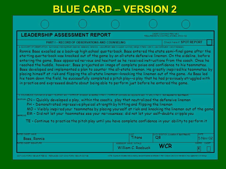 XX X XX X X X X X X X BLUE CARD – VERSION 2