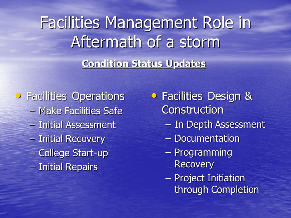 Facilities Management Role in Aftermath of a storm Facilities Operations Facilities Operations –Make Facilities Safe –Initial Assessment –Initial Reco