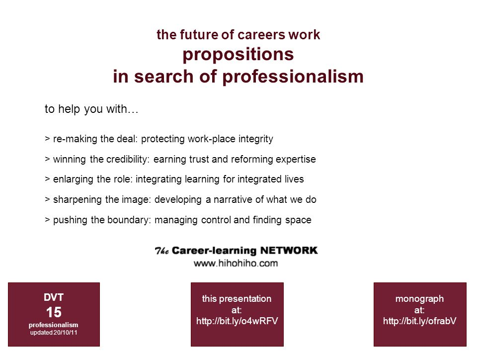 the future of careers work propositions in search of professionalism DVT 15 professionalism updated 20/10/11 monograph at: http://bit.ly/ofrabV to help you with… > re-making the deal: protecting work-place integrity > winning the credibility: earning trust and reforming expertise > enlarging the role: integrating learning for integrated lives > sharpening the image: developing a narrative of what we do > pushing the boundary: managing control and finding space this presentation at: http://bit.ly/o4wRFV
