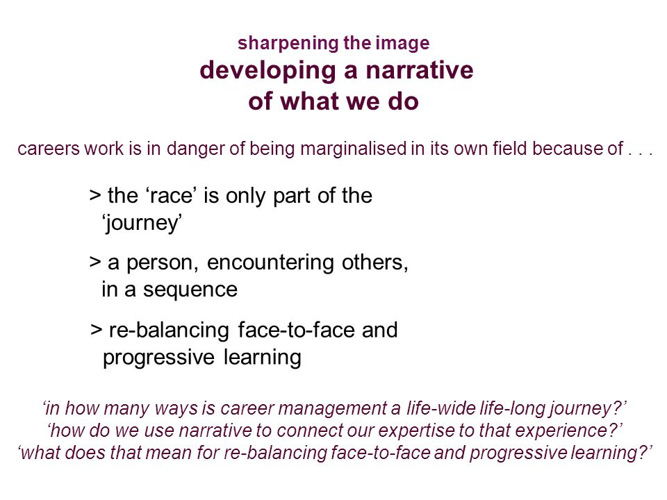 sharpening the image developing a narrative of what we do > the 'race' is only part of the 'journey' > a person, encountering others, in a sequence > re-balancing face-to-face and progressive learning 'in how many ways is career management a life-wide life-long journey ' 'how do we use narrative to connect our expertise to that experience ' 'what does that mean for re-balancing face-to-face and progressive learning ' careers work is in danger of being marginalised in its own field because of...
