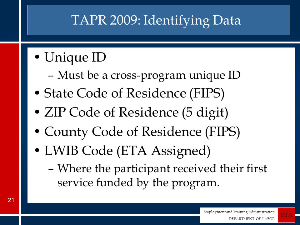 Employment and Training Administration DEPARTMENT OF LABOR ETA 21 TAPR 2009: Identifying Data Unique ID –Must be a cross-program unique ID State Code of Residence (FIPS) ZIP Code of Residence (5 digit) County Code of Residence (FIPS) LWIB Code (ETA Assigned) –Where the participant received their first service funded by the program.