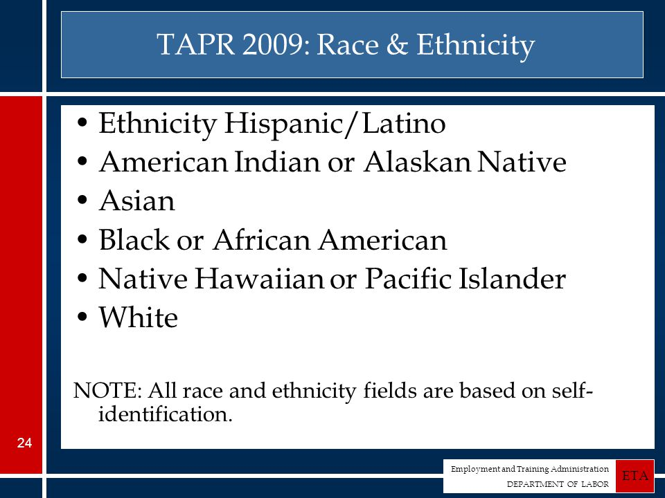 Employment and Training Administration DEPARTMENT OF LABOR ETA 24 TAPR 2009: Race & Ethnicity Ethnicity Hispanic/Latino American Indian or Alaskan Native Asian Black or African American Native Hawaiian or Pacific Islander White NOTE: All race and ethnicity fields are based on self- identification.