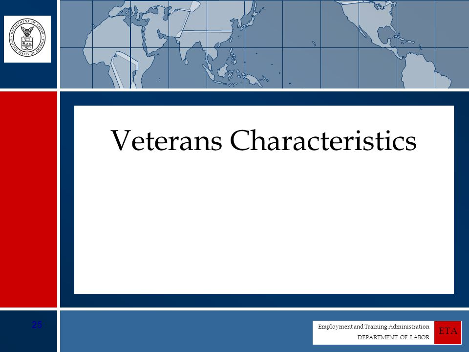 Employment and Training Administration DEPARTMENT OF LABOR ETA 25 Veterans Characteristics