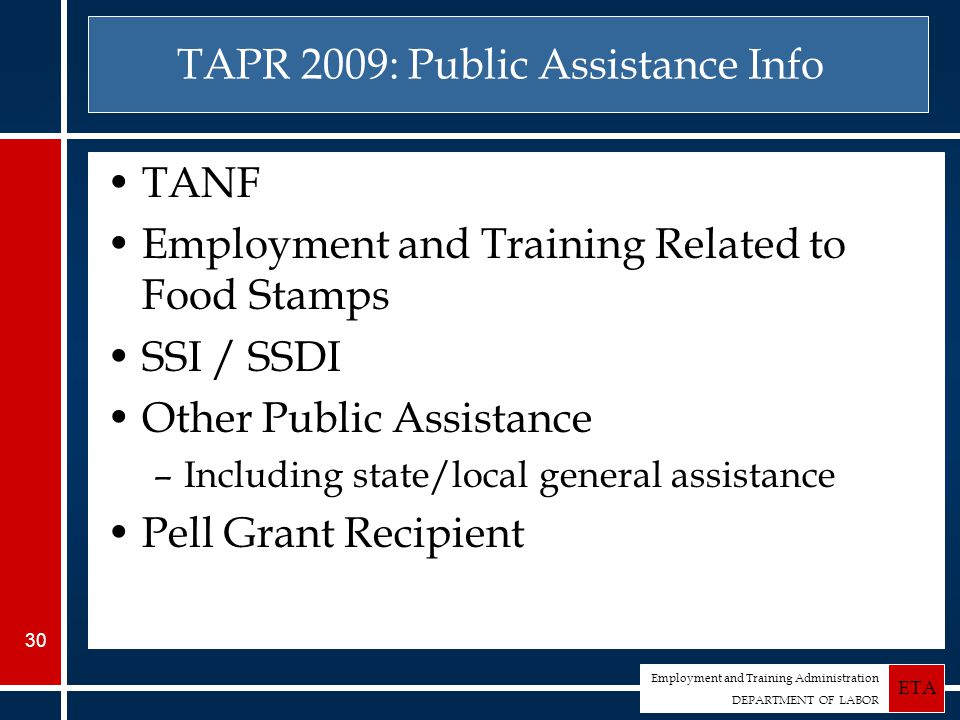 Employment and Training Administration DEPARTMENT OF LABOR ETA 30 TAPR 2009: Public Assistance Info TANF Employment and Training Related to Food Stamps SSI / SSDI Other Public Assistance –Including state/local general assistance Pell Grant Recipient