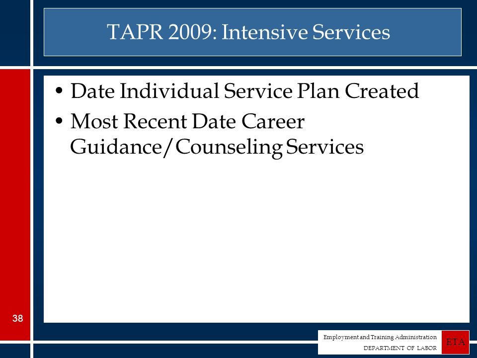 Employment and Training Administration DEPARTMENT OF LABOR ETA 38 TAPR 2009: Intensive Services Date Individual Service Plan Created Most Recent Date Career Guidance/Counseling Services