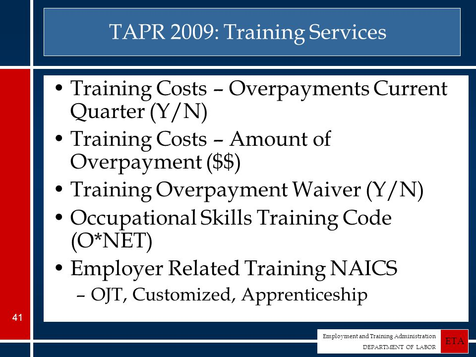 Employment and Training Administration DEPARTMENT OF LABOR ETA 41 TAPR 2009: Training Services Training Costs – Overpayments Current Quarter (Y/N) Training Costs – Amount of Overpayment ($$) Training Overpayment Waiver (Y/N) Occupational Skills Training Code (O*NET) Employer Related Training NAICS –OJT, Customized, Apprenticeship