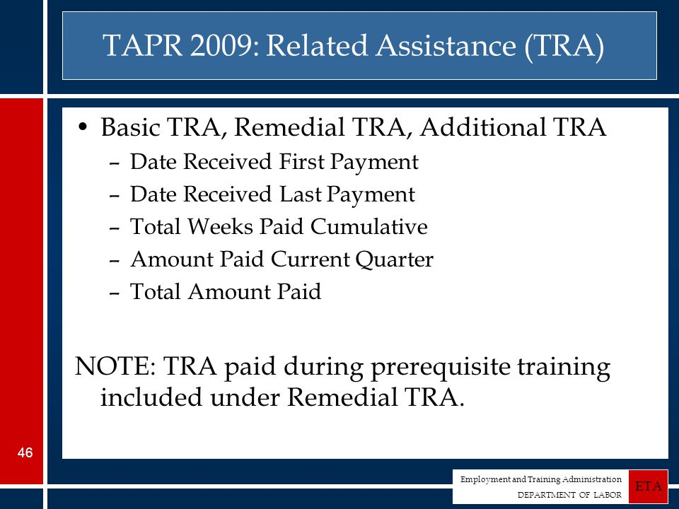 Employment and Training Administration DEPARTMENT OF LABOR ETA 46 TAPR 2009: Related Assistance (TRA) Basic TRA, Remedial TRA, Additional TRA –Date Received First Payment –Date Received Last Payment –Total Weeks Paid Cumulative –Amount Paid Current Quarter –Total Amount Paid NOTE: TRA paid during prerequisite training included under Remedial TRA.