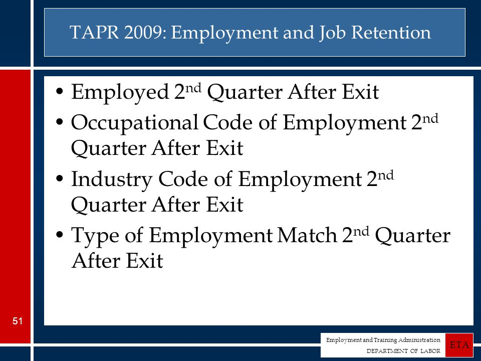 Employment and Training Administration DEPARTMENT OF LABOR ETA 51 TAPR 2009: Employment and Job Retention Employed 2 nd Quarter After Exit Occupational Code of Employment 2 nd Quarter After Exit Industry Code of Employment 2 nd Quarter After Exit Type of Employment Match 2 nd Quarter After Exit