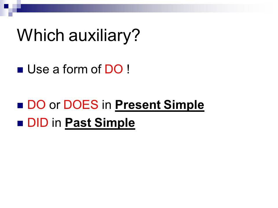 Which auxiliary? Use a form of DO ! DO or DOES in Present Simple DID in Past Simple