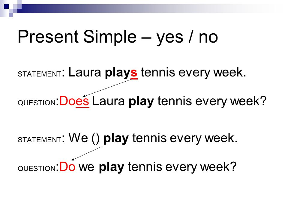 Present Simple – yes / no STATEMENT : Laura plays tennis every week.