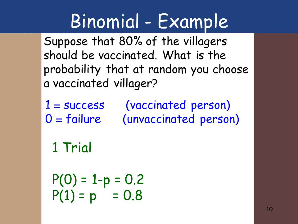 10 Suppose that 80% of the villagers should be vaccinated. What is the probability that at random you choose a vaccinated villager? 1  success (vacci