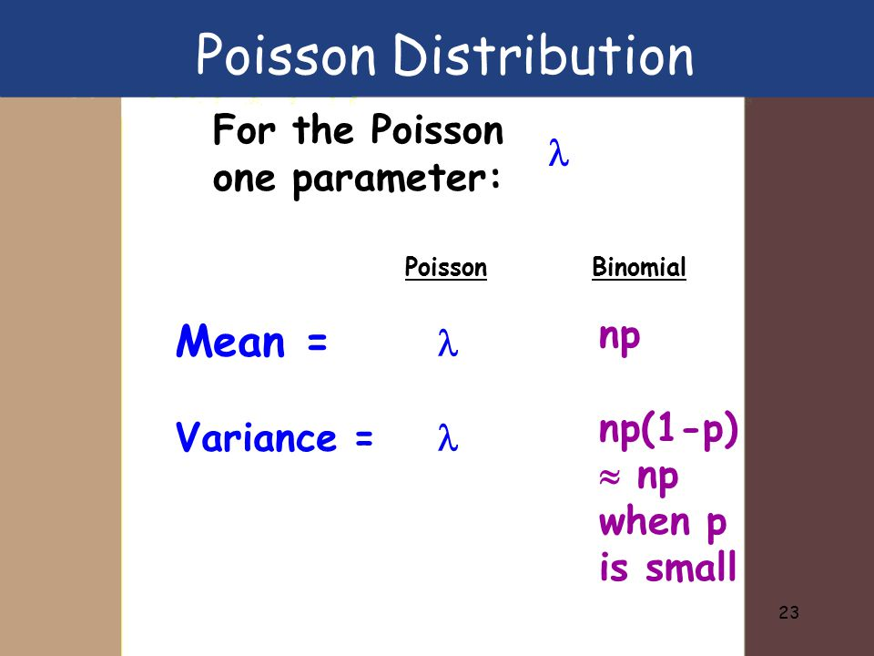 23 For the Poisson one parameter: Mean = Variance = np np(1-p)  np when p is small Poisson Distribution PoissonBinomial