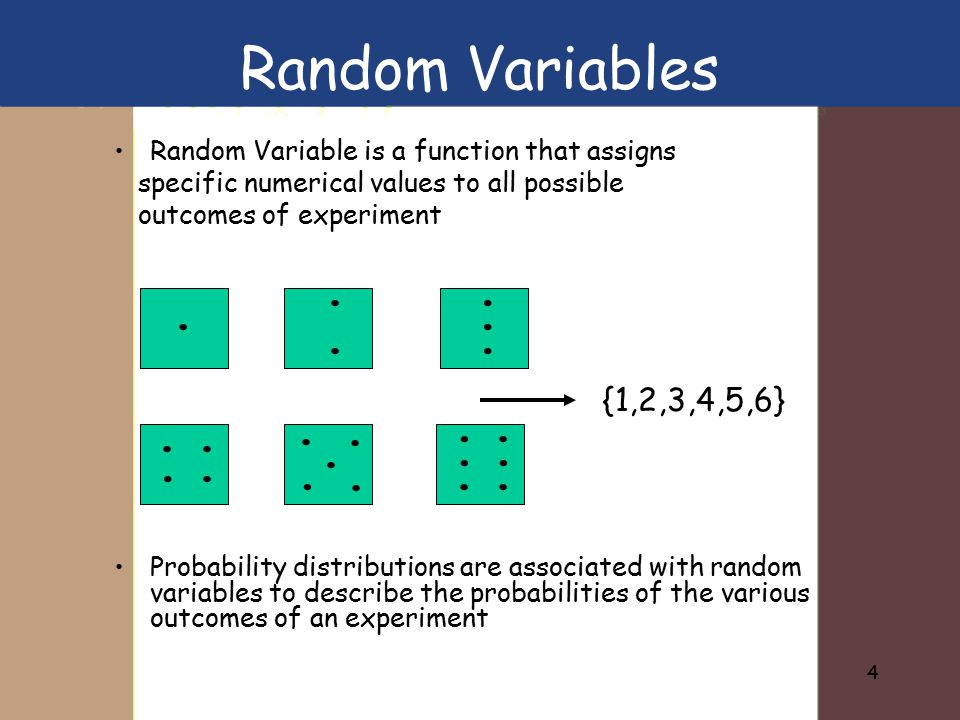 4 Random Variable is a function that assigns specific numerical values to all possible outcomes of experiment Probability distributions are associated