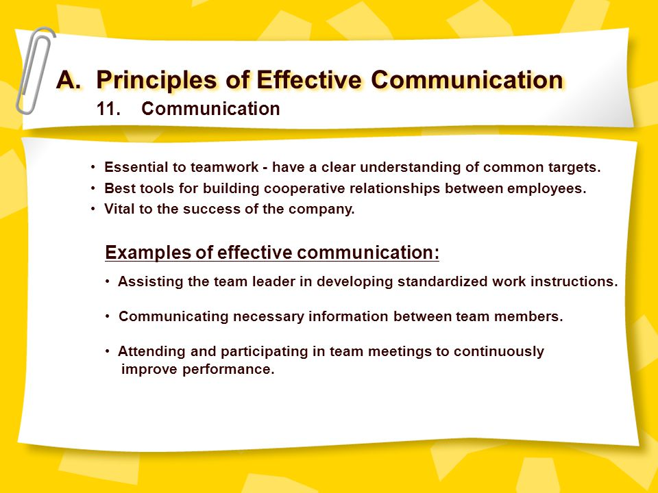 A. Principles of Effective Communication 11. Communication Essential to teamwork - have a clear understanding of common targets. Best tools for buildi