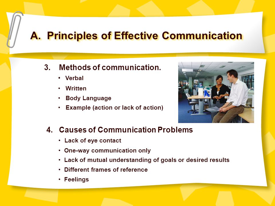 A. Principles of Effective Communication 3. Methods of communication. Verbal Written Body Language Example (action or lack of action) 4. Causes of Com