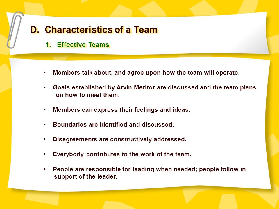 D. Characteristics of a Team Members talk about, and agree upon how the team will operate. Goals established by Arvin Meritor are discussed and the te