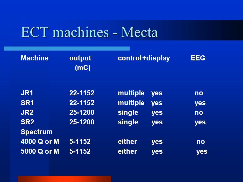 ECT machines - Somatics Machineoutputcontrol+displayEEG (mC) Thymatron DGx25-1008either yesoptional Thymatron system IV25-1008either yesyes