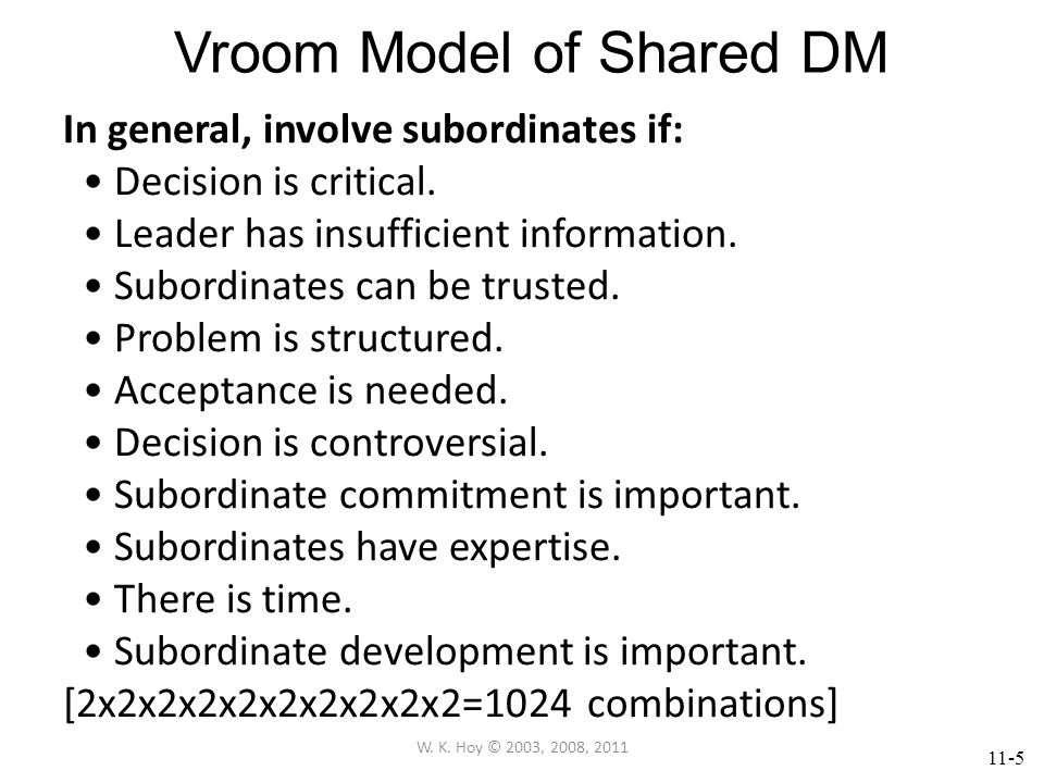 11-6 Vroom Model of Shared DM Decision-making Styles for Group Problems 1.Autocratic (A) Unilateral Decision 2.Informed-Autocratic (IA) Get info then unilateral decision 3.Individual-Consultative (IC) Consult with key individuals by sharing problem, then leader decides.