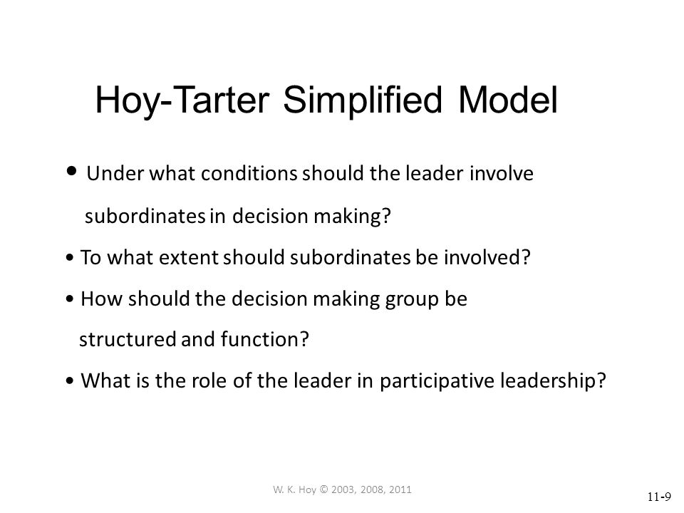 11-10 Assumptions of the Hoy-Tarter Model As subordinates are involved in decision making located within their ZONE OF ACCEPTANCE, participation will be less effective.
