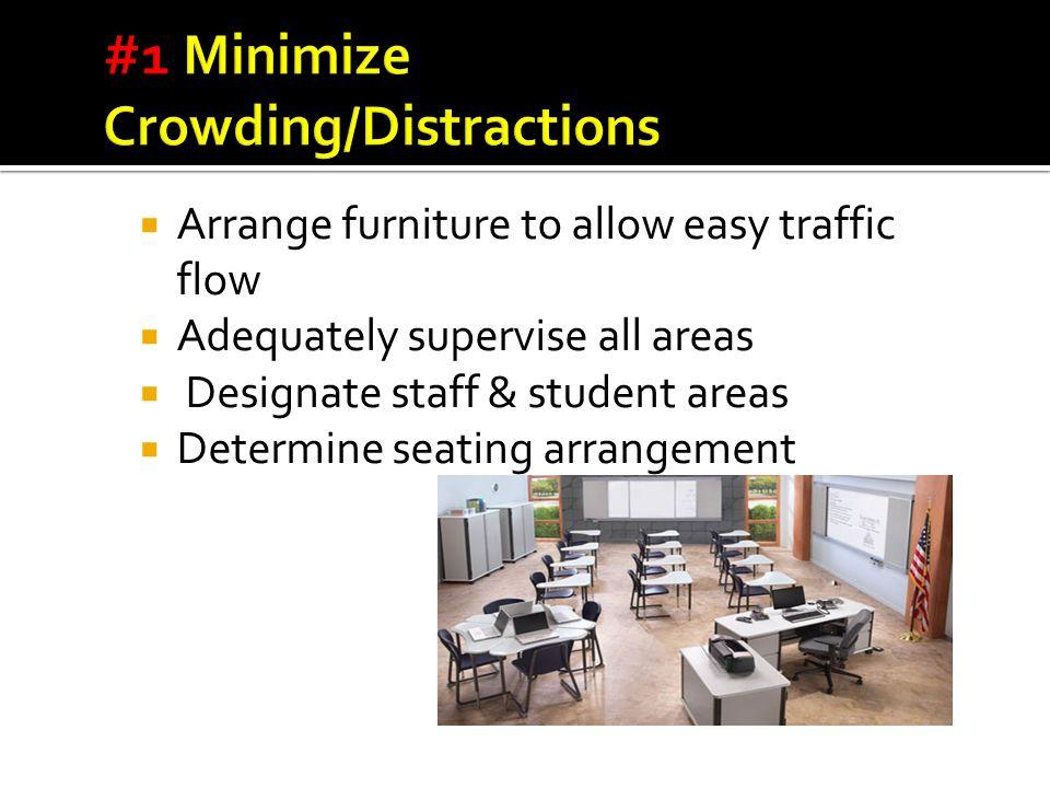  Arrange furniture to allow easy traffic flow  Adequately supervise all areas  Designate staff & student areas  Determine seating arrangement