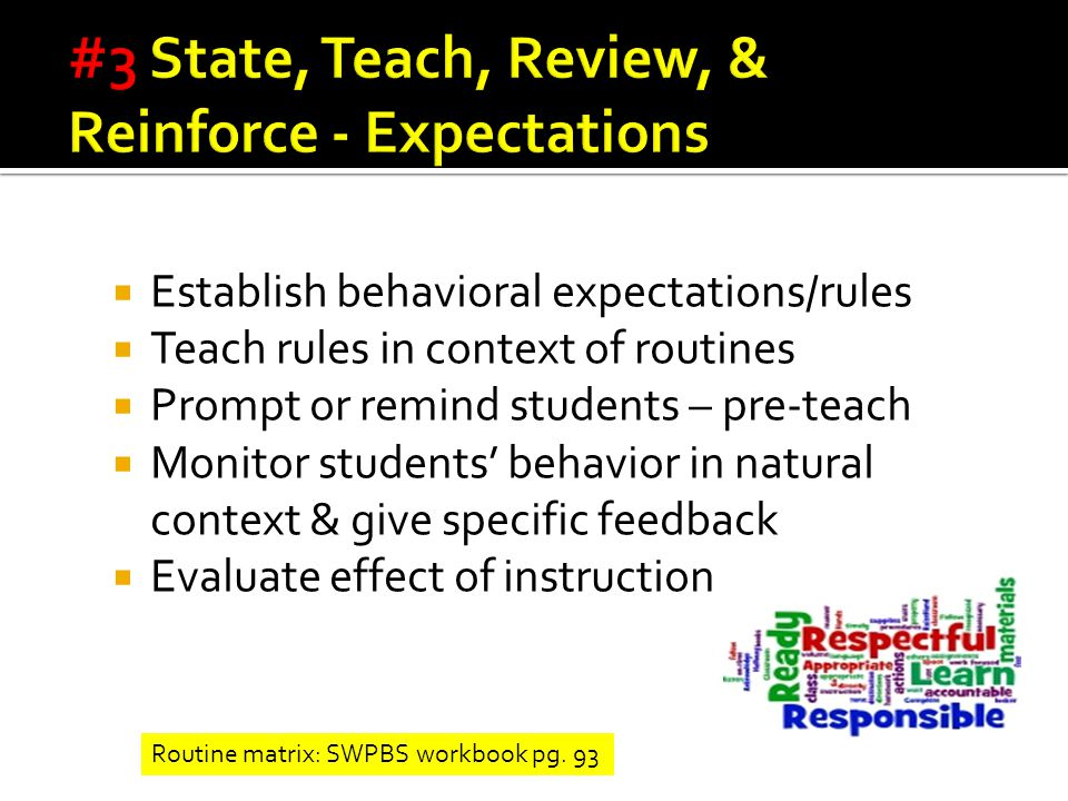  Establish behavioral expectations/rules  Teach rules in context of routines  Prompt or remind students – pre-teach  Monitor students' behavior in natural context & give specific feedback  Evaluate effect of instruction Routine matrix: SWPBS workbook pg.